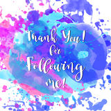 Beautiful vector card. Thank you design template for online social network and followers. Watercolor Media achievement Royalty Free Stock Photography