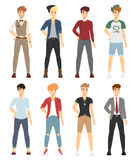 Beautiful vector cartoon fashion boy models look Stock Image