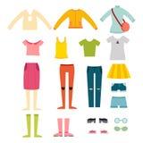 Beautiful vector cartoon fashion girl cloth constructor. Royalty Free Stock Photography