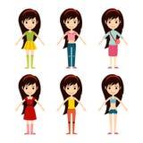 Beautiful vector cartoon fashion girl cloth constructor. Stock Image