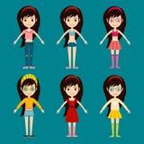 Beautiful vector cartoon fashion girl cloth constructor. Stock Photography