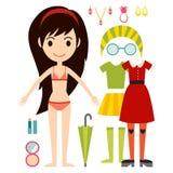 Beautiful vector cartoon fashion girl cloth constructor. Royalty Free Stock Photo