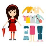 Beautiful vector cartoon fashion girl cloth constructor. Royalty Free Stock Photos