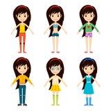 Beautiful vector cartoon fashion girl cloth constructor. Stock Photos