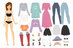 Beautiful vector cartoon fashion girl model Stock Image
