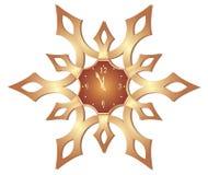 Beautiful vector christmas clock in snowflake Royalty Free Stock Image