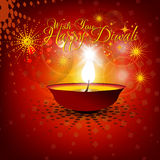 Beautiful vector diwali background. Beautiful vector diwali diya in shiny glowing red color background with stylish text Stock Photos