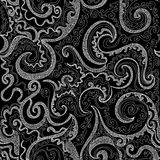 Beautiful vector endless floral texture with figured curling lines and decorative linear ornaments Stock Photos