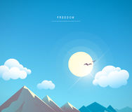 Beautiful vector flat cartoon mountain landscape summer illustration. Stock Images