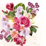 Beautiful vector floral background with flowers vector illustration