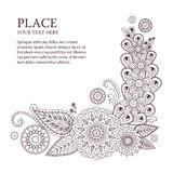 Beautiful vector floral elements in indian mehndi style. Unique hand drawn paisleys, mehndi floral abstract vector illustration on white background Vector Illustration