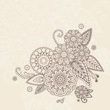 Beautiful vector floral elements in indian mehndi style. Unique hand drawn paisleys, mehndi floral abstract vector illustration on white background Stock Illustration