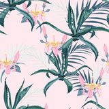 Beautiful vector floral seamless pattern background with agave, palm leaves and exotic flowers. Perfect for wallpapers, web page backgrounds, surface textures vector illustration
