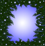 Beautiful vector frame with fir-tree branches and shining snowflakes. Vector Christmas background Royalty Free Stock Photography