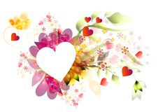 Beautiful vector frame heart, floral composition Royalty Free Stock Photos