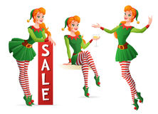 Beautiful vector girl in Christmas elf costume in different poses. Set of beautiful redhead girl in green Christmas elf costume in different poses. Cartoon Stock Photography