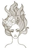 Beautiful vector girl with flower in hair Stock Images