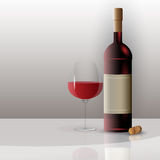 Beautiful Vector Glass of Wine and Bottle Royalty Free Stock Image