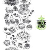 Beautiful vector hand drawn finger foods Illustration. Stock Photo