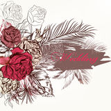 Beautiful vector hand drawn background with roses and banner in Royalty Free Stock Image
