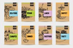 Beautiful vector hand drawn catering servise food card set. Detailed trendy style images. Modern sketch elements collection for packaging or cards design Stock Photos