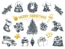 Beautiful vector hand drawn christmas Illustrations set. Royalty Free Stock Images