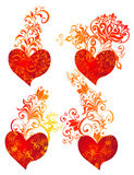 Beautiful vector hearts with floral ornament Stock Images
