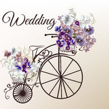 Beautiful vector illustration in antique style with retro bicycle and flowers for wedding design Royalty Free Stock Images