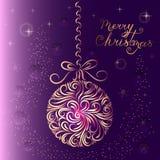 Christmas-tree decoration ball in purple colors. Ornament. New Year card. Congratulation. Celebration. Winter. Snowflakes. Stars. stock illustration