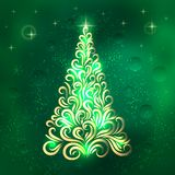 Christmas tree in green and gold colors. New Year card. Congratulation. Celebration. Winter. Snowflakes. Stars. Christmas tree stock illustration