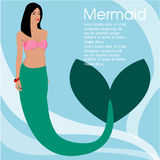 The Beautiful Vector illustration of a cute mermaid . ,vector design royalty free stock images