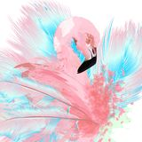 Beautiful vector illustration with drawn pink flamingo and blue. Feathers