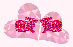 Beautiful vector illustration with kissing bunnies and geometrical triangle hearts - symbol of love Stock Photos