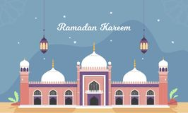 Ramadan Vector Illustration with lantern and crescent moon. Beautiful Vector Illustration Ramadan Kareem The Holy Month Muslim Feast Greeting Card with night stock illustration