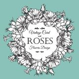 Beautiful vector illustration. Round frame with roses in vintage style. Stock Photography