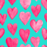 Beautiful Vector illustration Seamless pattern with red watercolor hearts. Royalty Free Stock Photos