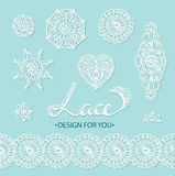 Beautiful vector lace elements - flowers, circles, heart and border. Vector illustration. Stock Photography