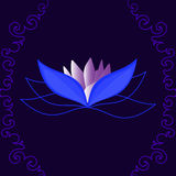 Beautiful vector lotus flower on blue background with figured curling lines. You can use any color of background Royalty Free Stock Photography