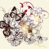 Beautiful vector pattern with butterflies Royalty Free Stock Photos