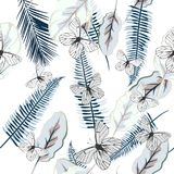 Beautiful vector pattern with palm leafs butterflies Royalty Free Stock Images