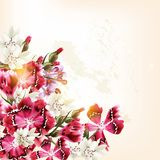 Beautiful vector pattern with pink flowers Royalty Free Stock Images