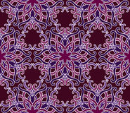Beautiful vector Print Seamless Pattern. Mandala Flowers with cherry background. Stock Image