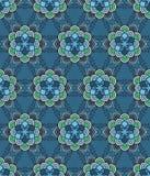 Beautiful vector Print Seamless Pattern. Mandala Flowers set with blue background. Royalty Free Stock Photo