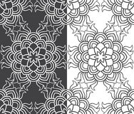 Beautiful vector Print Seamless Pattern. Mandala Flowers set with white and grey background. Royalty Free Stock Photos