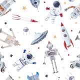 Watercolor baby space vector pattern. Beautiful vector seamless baby pattern with cute retro robots astronaut spaceman spaceship rocket royalty free illustration