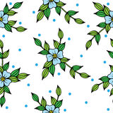 Beautiful vector seamless background with blue flowers and leave. S. Can be used for printing on fabric, for wrapping paper and for the background of the site Stock Image