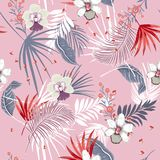 Beautiful vector seamless beautiful artistic Bright summer tropi. Hawaii print vector seamless beautiful artistic Bright summer tropical pattern with exotic Royalty Free Stock Photo