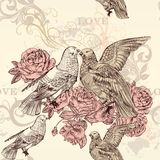 Beautiful vector seamless floral  pattern with roses and birds Stock Image