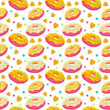 Beautiful vector seamless pattern with bright surrealistic donut Stock Photo