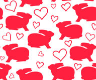 Beautiful vector seamless pattern with bunnies and hearts. You can use it as Valentines card Royalty Free Stock Photo